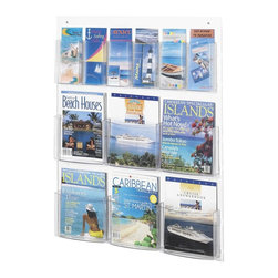 Safco - Clear2c 6 Magazine and 6 Pamphlet Display Rack in Clear Finish - Includes mounting hardware. Sturdy, break-resistant polycarbonate plastic pockets. Deep pockets hold 2 in. of printed material. Cut out feature makes cleaning easy. Pre-drilled holes, screws and anchors make it possible to mount in minutes. GREENGUARD Certified. Pockets made from polycarbonate . Back made from PETG. Material Thickness: 2.25mm (PETG). Pamphlet Compartment Size: 4.5 in. W x 2 in. D x 7 in. H. Magazine Compartment Size: 9.13 in. W x 2 in. D x 7 in. H. Overall: 29 in. W x 3 in. D x 36 in. H  (12 lbs.). Assembly InstructionMake your literature and magazines Clear2c! Whether it's for your guests in the reception area, waiting room, conference room, meeting areas, the lobby, foyer or entrance way or for your internal employees at a print station, lounge area, lunch or break room, mail room, supply room, classroom, media center, library or even your office, every piece of literature and magazine will have a perfect place to be displayed. And use them in hallways outside busy offices to make sure everyone has a chance to read all your literature.