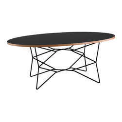 """Adesso Inc. - Network Coffee Table - Black melamine veneer with natural MDF layered edge; table top is .75"""" thick. The table has a black metal wire base with 5/16""""  Diameter legs. 19"""" Height. Oval table top: 36.25"""" Width, 21.75"""" Depth. Base: 22.5"""" Width, 15.5"""" Depth"""