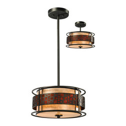 Z-Lite - Z-Lite Z14-50P-C Milan 3 Light Pendant in Java Bronze - The Oak Park family finished in Java Bronze offers clean lines with simple, geometric forms to show true craftsman's styling. This 3 Light Pendant is finished in Java bronze paired with White and Amber Micca.