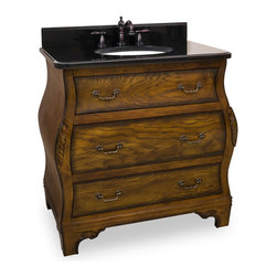 "Hardware Resources - 34"" Wide Solid Wood Vanity  VAN009-T - This 34"" wide solid wood vanity has a rich walnut finish that showcases the depth and dimensions of the wood grain and burl. This vanity features hand-carved botanical details on both the vanity and the corresponding mirror. With three fully working drawers, two fitted around the plumbing and the bottom a full drawer, equipped with full extension slides give this vanity ample storage.  This vanity has a 2.5CM black granite top preassembled with an H8809WH (15"" x 12"") bowl, cut for 8"" faucet spread, and corresponding 2CM x 4"" tall backsplash.  Overall Measurements: 34"" x 21-5/8"" x 33-3/4"" (measurements taken from the widest point) Finish: Walnut Material: Wood Style: Traditional Coordinating Mirror(s): MIR009 Bowl: H8809WH"