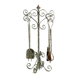 Coastal Fireplace Tools - Let the chill of evening call, let the winds of winter draw near; a warming fire is near at hand with the Coastal Fireplace Tools. The Distressed Antique White finish suggests the gentle touch of time, while the simple curvature imparts an old-world aesthetic.
