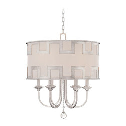 "Savoy House - Savoy House Mirabel 22 1/2"" Wide Chandelier - This breathtaking design by Karyl Pierce Paxton is created with Classic Moderne style. The Argentum finish and laser-cut overlay combine with an off-white hardback shade for a splendidly striking fixture that will enhance any decor. From Savoy House. Argentum finish. Laser-cut overlay. Off-white hardback shade. Takes six 60 watt candelabra bulbs (not included). 22 1/2"" wide. 26 1/2"" high. 6"" wide canopy. Includes 10 feet of chain and 12 feet of wire. Hang weight of 26 lbs.  Argentum finish.   Laser-cut overlay.   Off-white hardback shade.   Takes six 60 watt candelabra bulbs (not included).   22 1/2"" wide.   26 1/2"" high.   6"" wide canopy.   Includes 10 feet of chain and 12 feet of wire.  Hang weight of 26 lbs."