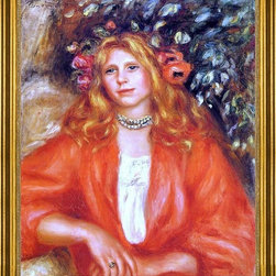 "Pierre Auguste Renoir-16""x20"" Framed Canvas - 16"" x 20"" Pierre Auguste Renoir Young Woman Wearing a Garland of Flowers framed premium canvas print reproduced to meet museum quality standards. Our museum quality canvas prints are produced using high-precision print technology for a more accurate reproduction printed on high quality canvas with fade-resistant, archival inks. Our progressive business model allows us to offer works of art to you at the best wholesale pricing, significantly less than art gallery prices, affordable to all. This artwork is hand stretched onto wooden stretcher bars, then mounted into our 3"" wide gold finish frame with black panel by one of our expert framers. Our framed canvas print comes with hardware, ready to hang on your wall.  We present a comprehensive collection of exceptional canvas art reproductions by Pierre Auguste Renoir."