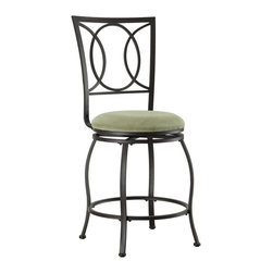 """Linon Home Decor - Linon Home Decor Half Circle Counter Stool X-U10LTM165430 - Transitional in style and design, the Half Circle Counter Stool is perfect for any home. Crafted of heavy duty metal, the stool has a dark brown finish and plush swivel beige and light green microfiber seat. The stool back has a circle and half circle design that is sleek and sophisticated. Perfect for adding seating to a counter, home bar or high top table. 24"""" Seat Height. 275 pound weight limit."""