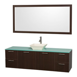 """Wyndham Collection - Amare 72"""" Espresso Single Sink Vanity Set w/ Green Glass Top & 70"""" Mirror - Modern clean lines and a truly elegant design aesthetic meet affordability in the Wyndham Collection Amare Vanity. Available with green glass or pure white man-made stone counters, and featuring soft close door hinges and drawer glides, you'll never hear a noisy door again! Meticulously finished with brushed Chrome hardware, the attention to detail on this elegant contemporary vanity is unrivalled."""