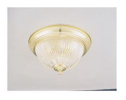 Forte Lighting - Forte Lighting 2041-01 Flushmount Ceiling Fixture from the Close to Ceiling Coll - Flush ceiling light in a polished brass finish with a clear ribbed glass shade.