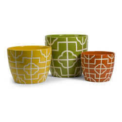 iMax - iMax Ellis Graphic Planters - Set of 3 X-3-50152 - Bright colors and bold graphic patterns define the Ellis Graphic Planters. Make a statement with them today!