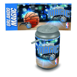 Picnic Time - Orlando Magic Bongo Cooler - The Extra large Can Cooler by Picnic Time is a hard-sided cooler and large beverage can replica that also doubles as a seat. It holds twenty seven 12-oz. cans and has a 5 gallon capacity. It features a snugly fitting, fully removable lid and folding handle. Perfect for the beach, patio, tailgating, parties, and sporting events. Made of HDPE.; Decoration: Digital Print; Includes: 1 removable lid