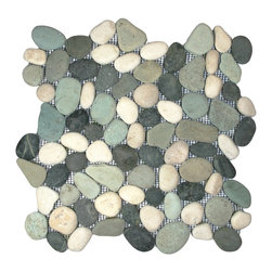 "CNK Tile - Bali Turtle Pebble Tile - Each pebble is carefully selected and hand-sorted according to color, size and shape in order to ensure the highest quality pebble tile available.  The stones are attached to a sturdy mesh backing using non-toxic, environmentally safe glue.  Because of the unique pattern in which our tile is created they fit together seamlessly when installed so you can't tell where one tile ends and the next begins!     Usage:    Shower floor, bathroom floor, general flooring, backsplashes, swimming pools, patios, fireplaces and more.  Interior & exterior. Commercial & residential.     Details:    Sheet Backing: Mesh   Sheet Dimensions: 12"" x 12""   Pebble size: Approx 3/4"" to 2 1/2""   Thickness: Approx 1/2""   Finish: Maui Turtle Natural"