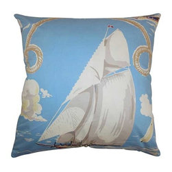 The Pillow Collection - Margalo Blue 18 x 18 Coastal Throw Pillow - - Pillows have hidden zippers for easy removal and cleaning  - Reversible pillow with same fabric on both sides  - Comes standard with a 5/95 feather blend pillow insert  - All four sides have a clean knife-edge finish  - Pillow insert is 19 x 19 to ensure a tight and generous fit  - Cover and insert made in the USA  - Spot clean and Dry cleaning recommended  - Fill Material: 5/95 down feather blend The Pillow Collection - P18-MVT-2399-BLUE-C100