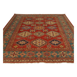 Hand Knotted Oriental Rug 8'x10' 100% Wool Red Super Kazak Oriental Rug Sh17925 - Our Tribal & Geometric hand knotted rug collection, consists of classic rugs woven with geometric patterns based on traditional tribal motifs. You will find Kazak rugs and flat-woven Kilims with centuries-old classic Turkish, Persian, Caucasian and Armenian patterns. The collection also includes the antique, finely-woven Serapi Heriz, the Mamluk Afghan, and the traditional village Persian rug.