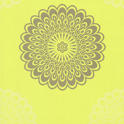 Eijffinger - Jacintha Green Mod Geometric Floral Wallpaper - With this bright, geometric mandala pattern on your wall, you'll feel both invigorated and centered, every time you walk in the room. This unpasted, non-woven material wallpaper was made in the Netherlands, and is built to last. This versatile roll gives you 57.75 square feet of washable, strippable, modern paper.