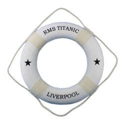 """Handcrafted Model Ships - RMS Titanic Lifering 20"""" - White Nautical Themed Bathroom Accessories Life Ring - The RMS Titanic was the largest ship to sail the ocean and will forever be remembered for it's maiden voyage mishap. Bring a little flare and historical value into your home, office, or boat with the RMS Titanic decorative lifering. A white lifering with hand stitched straps, and the script RMS Titanic, and Liverpool are true to that which you would have found aboard the Titanic in it's day. The RMS Titanic lifering captures the seagoing experience and can provide a calming nautical feel to any room that may need it."""