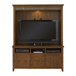 Liberty - Liberty Hearthstone Entertainment Center in Rustic Oak - Liberty Furniture is a dedicated provider of all wood products including bedroom, dining, entertainment, occasional and home office categories. Their products are developed using years of knowledge coupled with a vision of the future. They use high-quality wood with the best veneers and conduct an extensive, detail-oriented finishing process, including some level of distressing. In addition, they build their products with high-level hardware to ensure durability. They are a company founded on the core principle of service. They value the relationships with their customers. Liberty Furniture is here to serve you... today, tomorrow, and for many years to come.