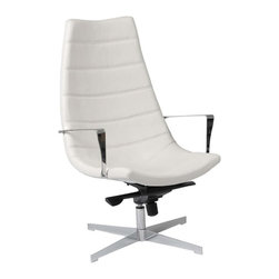 Eurostyle - Eurostyle Domino Leatherette Lounge Chair w/ Gas Lift in White - Leatherette Lounge Chair w/ Gas Lift in White belongs to Domino Collection by Eurostyle Upholstered in soft leatherette over foam. Chromed steel frame. Gas lift, tilt and swivel. More colors. Matching ottoman. Lounge Chair (1)