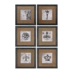 Uttermost - Uttermost Symbols Wall Art Set of 6 - 55000 - Uttermost's art combines premium quality materials with unique high-style design.