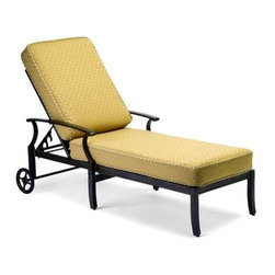 Woodard - Sutherland Cushion Adjustable Chaise Lounge - Slat Back - All products are made to order. Orders cannot be cancelled after 5 calendar days. If order is cancelled after 5 calendar days, a 50% restocking fee will be applied. Aluminum frame. Sutherland Cushion. Seat Height: 18 in. H. 77 in. D x 33 in. W x 23 in. H