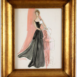 "Fashion Watercolor of Woman in Black Evening Wear - A young woman with her hair swept back wears an elegant black dress with white roses in this exquisite watercolor from the mid-20th century. Unsigned, painted by Barbara Bernhardt. An American artist, Bernhardt studied at the Art Students League of New York and was known for her humorous and whimsical drawings. Displayed in deep-set giltwood frame with small lower right. Image, 10.5""L x 13.5""H."