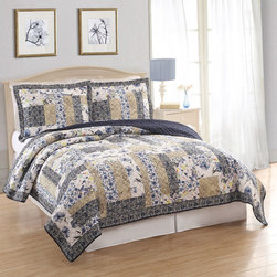 Pem America - Dumont Patchwork Cotton 3-piece Quilt Set - A stripe design of multi colors in all cotton fabrics and all cotton fill,this quilts is pre-washed for a heirloom feel and soft texture. This versatile bedspread is perfect for any decor theme and is conveniently machine washable.