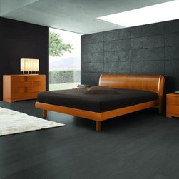 Made in Italy Wood Modern Furniture Design Set with Extra Storage - Italian cherry wooden bedroom set. This cherry colored contemporary modern bedroom set features solid wood construction and lights that are recessed in the headboard.
