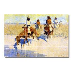 Picture-Tiles, LLC - Pool In The Desert Tile Mural By Frederic Remington - * MURAL SIZE: 32x48 inch tile mural using (24) 8x8 ceramic tiles-satin finish.