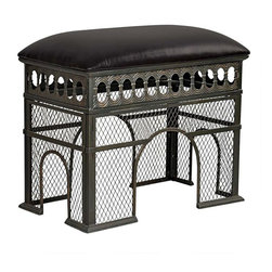 EttansPalace - Decorative Arch de Triomphe Sculptural Metal Bench - Transport the coveted view from atop Paris's Arc de Triomphe into your very own living room! Our stylized, exclusive echoes Chalgrin's famous 1806 architectural wonder and is a sturdy, bronze-finished metal work of furniture art topped with a cushioned seat of faux leather. Beside a dressing table or flanking an entryway, this smart piece boasts a decidedly French accent!