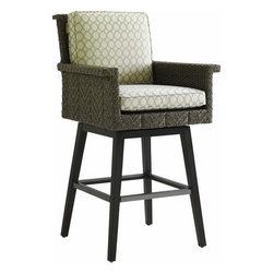 Lexington - Tommy Bahama Blue Olive Swivel Bar Stool - The seat of the bar stool is a slightly smaller scale than the dining chair yet remains quite comfortable with the arm rests and tilt of the back cushion. Since the seat swivels, all four foot rests have protective covers in the same color as the aluminum frame.