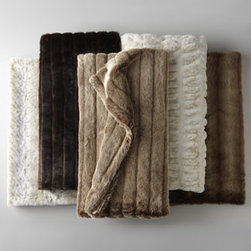 """Horchow - Ivory Faux Mink Throw, 60"""" x 75"""" - Super soft, fabulously plush, and entirely faux. You won't believe how great these faux fur throws feel—or what an appealing value they are. Shown from left to right: Faux Lynx; Faux Sable; Faux Red Fox; Ivory Faux Mink; Faux Coyote. Handcrafted....."""