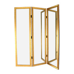 Wayborn - Wayborn Mirror with Frame Full Size Dressing Room Divider in Gold - Wayborn - Room Dividers - MS006