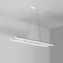 Lucitalia - Tender Suspension - Tender Suspension is available in a Matte White or Matte Silver Grey finish.  Suspended luminary for direct or indirect lighting. Extruded aluminum body. The reflector dish with asymmetric emission, super pure aluminum is 99.9% and is fully reclining and swivel allowing you to easily switch from direct to indirect light. The screen is made of poly-carbonate.  Two 39 watt, 120 volt T5 Fluorescent lamps are required but not included. 35.437 inch width x 10.023 inch height.  Steel cable is 78.734 inches in length.