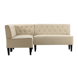 Easton Breakfast Nook, 3-Piece Set, Beige Linen - This off-the-rack banquette is very affordable.
