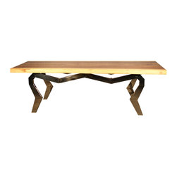 IndoModern - Spider Desk - The Rugby 3-Tone Dining Table is a beautiful slab of wood that will bring the outdoors to life in your home. It's Earth-friendly, with five trees planted for each harvested by IndoModern. Each piece of wood remains in a kiln oven for 4-6 weeks to strengthen and prevent splitting of this durable and modern-styled home dining table with an inspired stainless steel support. Chairs not included.