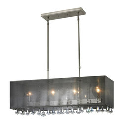 Four Light Brushed Nickel Organza Black Shade Island Light - The Aura family of linear shaded fixtures feature a stunning double line of multi faceted pyramid crystal. This fixture features a black organza shade. In all cases the fixtures are finished with brushed nickel.