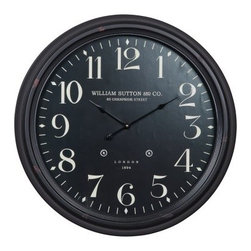 Norton 24.5 in. Aged Black Oversized Tin & Glass Wall Clock - Classic and elegant, the Norton 24.5 in. Aged Black Oversized Tin & Glass Wall Clock is a perfect accent for almost any decor. Its metal frame has an aged black finish, and its black face rests behind a glass cover. It has quartz operation that runs on one AA battery (not included).About Cooper ClassicsCooper Classics was founded over 50 years ago and is currently operated by the third generation of the Cooper family. Their production and warehousing facilities are located in the Blue Ridge Mountains of Virginia, where they produce uniquely styled mirrors and accessory furniture. Because of their extensive background in wood product manufacturing, they excel in the design and production of solid wood mirror frames and furniture. Cooper's commitment to their customers is to provide products with outstanding quality and styling while maintaining a competitive price.