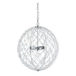 """AF Lighting - AF Lighting Silver Web 3 Light Round Hanging Pendant Chrome & Glass Bead - AF Lighting 8285-3H Silver Horizon Series """"Silver Web"""" Three-Light Round Wire Pendant, Finished in Silver"""