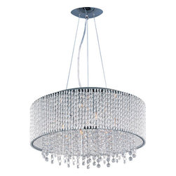 ET2 - Spiral Polished Chrome Ten-Light Pendant - The Spiral Collection's twisted metal tubing sparkles like diamonds in the sun. Strands of high quality K9 crystal beads add to the impact making this fixture look as brilliant on as it does off. ET2 - E23137-10PC