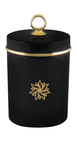 Maison Alma - Amber Signature Scented Candle, Black and 24K Gold - The serenely elegant porcelain container is just the beginning. The best part is inside: an enchanting aroma of green fig blended with hints of vanilla, cedar and tonka bean, infused into a long-burning candle. You get 60 hours of exquisite atmosphere inside that little container. The lid helps preserve it for special moments.