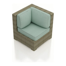 Forever Patio - Hampton Outdoor Wicker Sectional Corner, Heather Wicker and Spa Cushions - Take your sectional in a new direction with the deep seated Forever Patio Hampton Rattan Outdoor Sectional Corner Chair with Turquoise Sunbrella cushions (SKU FP-HAM-SCC-HT-SP). The UV-protected, heather wicker sports a flat woven design, creating a contemporary look with clean lines. Each strand of this outdoor wicker is made from High-Density Polyethylene (HDPE) and is infused with its rich color and UV-inhibitors that prevent cracking, chipping and fading ordinarily caused by sunlight. This outdoor wicker sectional piece is supported by thick-gauged, powder-coated aluminum frames that make it more durable than natural rattan. This sectional piece includes fade- and mildew-resistant Sunbrella cushions for added comfort in your outdoor space.