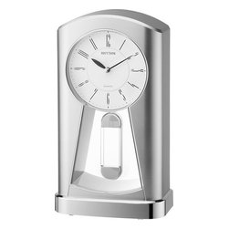 Rhythm Clocks - Lockheart Clock Silver 4RP794WS19 - The Lockheart is a contemporary table clock that bares a sleek silver design. The crystal clear pendulum compliments the style. The clock is equipped with an award-winning Rhythm Quartz movement. Clock is battery operated with a Quartz movement.