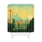 DENY Designs - Anderson Design Group Seattle Shower Curtain - Let's face it: The shower curtain takes up a lot of useful visual space in your bathroom. Why not use it as an art canvas? This printed shower curtain makes a modern statement with a big, bold, colorful graphic celebrating that hub of Northwest culture, Seattle. Designed by the award-winning Anderson Design Group, the print is an homage to vintage American poster art.