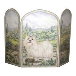 "Stupell Industries - Maltese Dog 3 Panel Decorative Fireplace Screen - Decorative and functional. Made in USA. Original Stupell art. 44 in. W x 31 in. H (Approx.). 0.5 in. ThickA fireplace screen from ""The Stupell Home decor Collection"" will be the focal point of any room and the beautiful color and design will immediately enhance your hearth and it's surroundings. Both functional and decorative, this one of kind screen will keep your fireplace out of sight when it's not in use. This piece is handcrafted from original artwork by English muralist Julie Perren. A lithograph is laminated on sturdy 1/2'' thick mdf fiberboard and the sides are hand painted. The item is already assembled in the box and ready to be put in front of the fireplace. Made in USA."