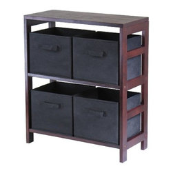 Winsome Wood - Capri Storage Shelf with 4 Fabric Baskets, Black - Our Capri M-Storage Shelf comes with 4 foldable black fabric baskets. Warm Walnut finish storage shelf is perfect for any room in your home. Use it alone as bookcase/shelf or with baskets for a complete storage function.