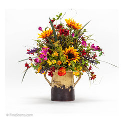 Sunflowers w/ Flowers in ceramic jar - Unique arrangement with a mix of Sunflowers and colorful Flowers placed in a ceramic jar.