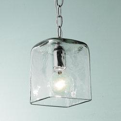 Small Square Glass Pendant Light -