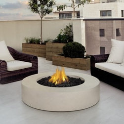 Real Flame Mezzo Round Fire Table - Antique White - Complete your outdoor entertainment area with the warmth and style of the Real Flame Mezzo Round Fire Table - Antique White. This beautiful fire pit provides an ambiance that brings people together. Its fiber-concrete construction gives it a modern appeal while an antique white finish blends with any setting. Use a standard 20-pound LP tank to give it up to 22 hours of use. Enjoy dancing flames over the included lava rock bed. Includes burner and electronic ignition.Note: Propane tank site outside fire pit.