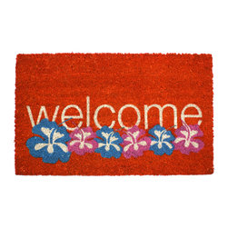 Entryways - Warm Welcome Non Slip Coconut Fiber Doormat - This beautifully designed doormat will enhance your entry way or patio. It's made from the highest quality all natural coconut fiber with a PVC non slip backing.