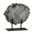 Cyan Design - Petrified Wood Sculpture, Small - The Petrified Wood Sculpture is curiously unique and awe inspiring.  Displayed prominently on a sturdy black iron stand (included), the Petrified Wood Sculpture is made of petrified oak with authentic tree ring details.  Choose from among small, medium or large sculptures for a commanding objet d'art, or display as a triptych for maximum impact.  The Petrified Wood Sculpture is an excellent option for adding an organic element to a clean-lined contemporary design, or for complimenting the rugged feel of an industrial modern decor.