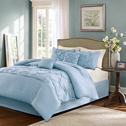 Home Essence - Home Essence Savoy 6 Piece Comforter Set - Make a statement in your bedroom with the Savoy Collection. The comforter and sham features a blue ultra soft brushed polyester that is tufted on the center and then pieced. This will give dimension and texture. A solid blue bedskirt is included along with two decorative pillows that have tufting and pleating details to complete the look. Comf and sham face: 100% polyester micro fiber 85gsm solid tufted. back: micro fiber 75gsm brushed fabric solid, Filling: 250gsm poly fill; Bedskirt drop: micro fiber, platform: non-woven fabric; Dec Pillow: 100% polyester cover with poly fill