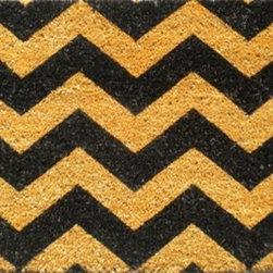 "CocoMatsNMore - CocoMatsNMore  Chevron Design Coir Doormats- 18"" X 30"" - Eco-friendly Coco Mat are hand-woven and  made from 100% natural coir . These coco doormats are designed to last for a long time and are easy to maintain and clean by either shaking or hosing it down. Designed with fade-resistant dyes they are durable enough to withstand the harshness of weather and look good througout the year. Furthermore, they keep your house clean by doing a fabulous job of trapping the dirt, mud and debris right at the doorstep."