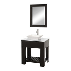 Wyndham Collection - Zen II Bathroom Vanity in Espresso, White Stone Top, White Porcelain Sink - The Zen II Modern Bathroom vanity is as solid as it is stylish. Sturdy high-quality construction, multiple sink options, single-hole faucet choices, and a stunning white man-made stone counter allow you to customize the Zen II to your taste and decor.